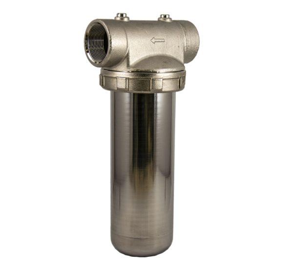 Porte filtre laiton cuve inox 9 pouces 3/4 - 1 pouce 1/4
